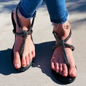 Black Rhinestone Strappy sandal